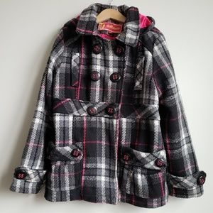 Dollhouse Plaid Hood Peacoat Style Coat